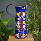 side view of the Hand Painted Narrowboat Jug in Blue