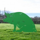 Pig Silhouette in Green Finish on Grass