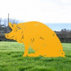 Sitting Pig Silhouette in Yellow