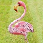 Vibrant Pink Flamingo Garden Sculpture