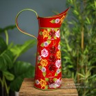 Side view of the Red Hand Painted Jug