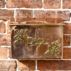"""Drustan"" Copper and Brass Celtic Design Post Box Mounted on a Wall"