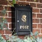 "Deluxe ""Tudor Rose"" Polished Brass Motif Post Box"
