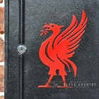 "Close-up of the Red ""Liver Bird"" on the Front of the Post Box"