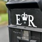 """Original Reproduction"" Black Elizabeth Regina Post and Parcel Box With Stand"