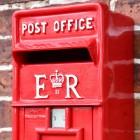 Close up of Red Elizabeth Regina Slim Post Box