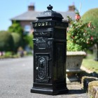 """Blackberry Harvest"" Camden Deluxe Free Standing Post Box in Black With Gold Text"