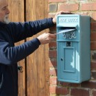 King George wall mounted post box finished in Sky Blue