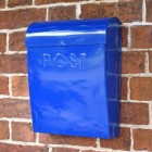 Contemporary blue external house post box