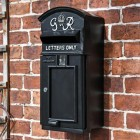 Black & White Slim King George Post Box in Situ
