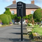 Black Curved Top GR Post Box & Stand