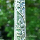 Leaf Detailing On Green Cast Iron Lamp Post Column