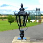 Black Hexagonal Pillar Light and Lantern Set in Situ on the Driveway