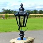 86cm Black Hexagonal Pillar Light and Lantern Set on a Brick Pillar