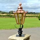Copper Hexagonal Pillar Light and Lantern Set in Situ on a Brick Pillar