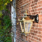 Side view of Polished Brass Suspended Wall Lantern
