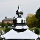 Close up of polished nickel finial