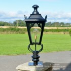 Black Gothic Pillar Light and Lantern Set 81cm
