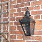 Harrogate Black Wall Lantern mounted to wall