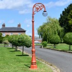 Antique Red Ornate Cast Iron Globe Lamp Post