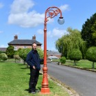Antique Red Ornate Cast Iron Globe Lamp Post to Scale