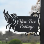 Liver Bird Wall Bracketed House Name Sign Created Out of Iron