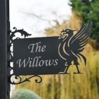 Liver Bird Wall Bracketed House Name Sign in a Front Garden