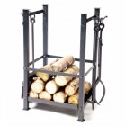 Log Basket with Fireplace Tools
