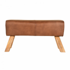 Mango Wood & Brown Goat Leather Bench