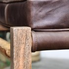 Mango Wood Frame and Brown Goat Leather Seat