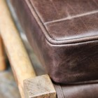 Close-up of the Mango Wood and Brown Goat Leather