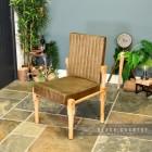 Mango Wood & Olive Goat Leather Chair in Situ