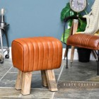 Mango Wood & Tan Goat Leather Bug Stool in Situ in the Living Room