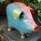 """""""Marnford Estate"""" Pig Sculpture in a Blue and Red Finish"""
