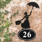 Bespoke Mary Poppins Iron House Number Sign in Situ