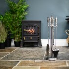 Matte Pewter Companion Set With Urn Handles 64cm In Situ
