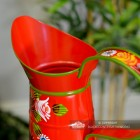 Close-up of the Top of the Red Traditional Hand Painted Narrowboat Style Jug