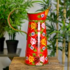 Side View of the Red Traditional Hand Painted Narrowboat Style Jug