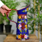Small Blue Traditional Hand Painted Narrowboat Style Jug to Scale