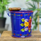 Medium Narrowboat Hand Painted Bucket From the Side