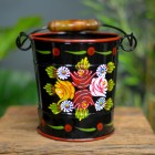 Black Hand Painted Bucket with Rose Design