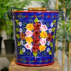 Hand Painted Log Bucket Finished in Blue
