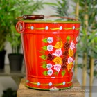 XL Log Bucket Finished in Red with a Hand Painted Rose Design