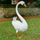 White Metal Feathered Swan Sculpture