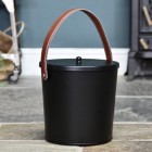 Modern Ash Bucket Finished in Black with Leather Handle