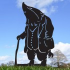 Black Mr Badger With Walking Stick Silhouette in Situ