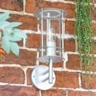 """Naltio"" Contemporary Silver Wall Light on Brick Wall"