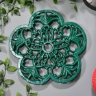 Robust Cast Iron Flower Petal Trivet in Green