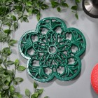 Cast Iron Flower Petal Trivet in Green in Situ