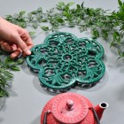 Cast Iron Flower Petal Trivet in Green to Scale